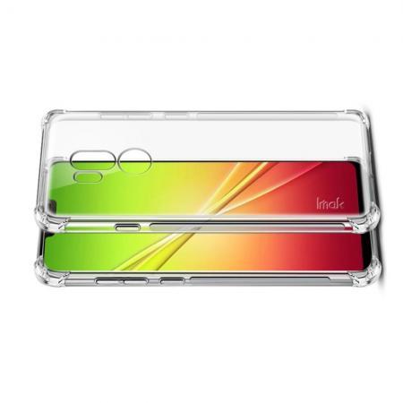 Ударопрочный бронированный IMAK чехол для LG G7 ThinQ с усиленными углами прозрачный + защитная пленка на экран
