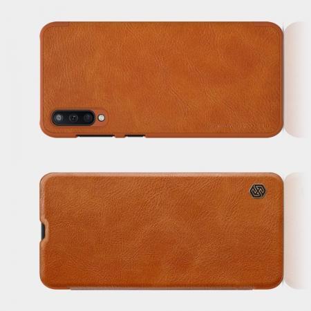 Тонкий Флип NILLKIN Qin Чехол Книжка для Samsung Galaxy A50 Коричневый