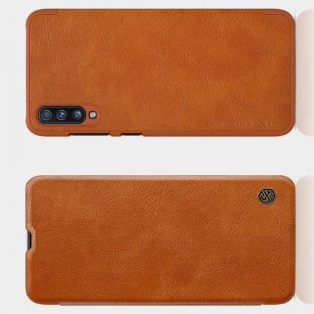 Тонкий Флип NILLKIN Qin Чехол Книжка для Samsung Galaxy A70 Коричневый