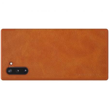 Тонкий Флип NILLKIN Qin Чехол Книжка для Samsung Galaxy Note 10 Коричневый