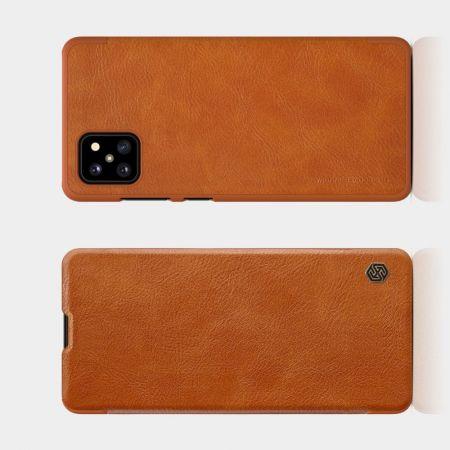 Тонкий Флип NILLKIN Qin Чехол Книжка для Samsung Galaxy Note 10 Lite Коричневый