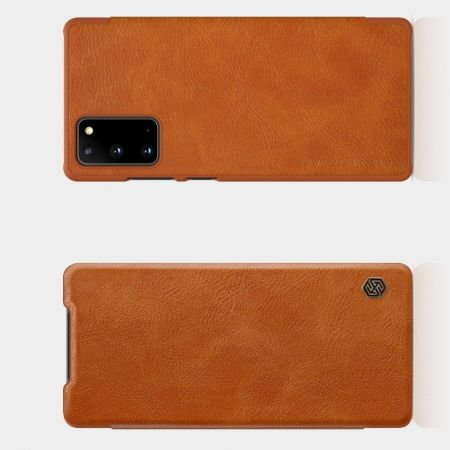 Тонкий Флип NILLKIN Qin Чехол Книжка для Samsung Galaxy Note 20 Коричневый