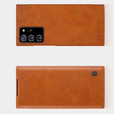 Тонкий Флип NILLKIN Qin Чехол Книжка для Samsung Galaxy Note 20 Ultra Коричневый