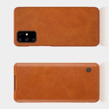 Тонкий Флип NILLKIN Qin Чехол Книжка для Samsung Galaxy S20 Plus Коричневый
