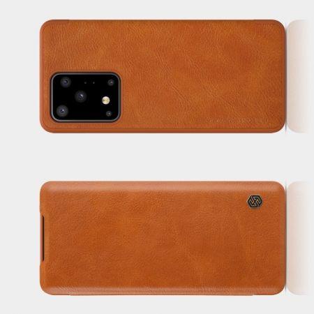 Тонкий Флип NILLKIN Qin Чехол Книжка для Samsung Galaxy S20 Ultra Коричневый