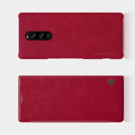 Тонкий Флип NILLKIN Qin Чехол Книжка для Sony Xperia 1 Красный