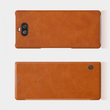 Тонкий Флип NILLKIN Qin Чехол Книжка для Sony Xperia 10 Plus Коричневый