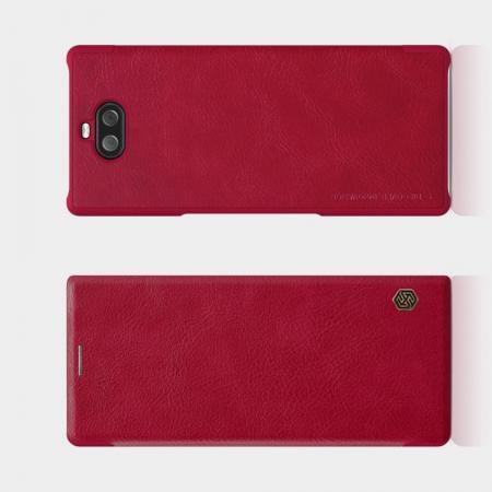 Тонкий Флип NILLKIN Qin Чехол Книжка для Sony Xperia 10 Plus Красный
