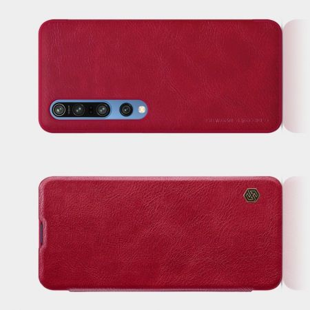 Тонкий Флип NILLKIN Qin Чехол Книжка для Xiaomi Mi 10 / Mi 10 Pro / 10 Pro Красный