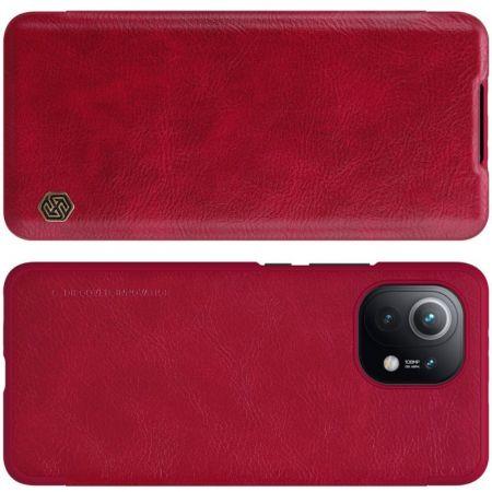 Тонкий Флип NILLKIN Qin Чехол Книжка для Xiaomi Mi 11 Красный