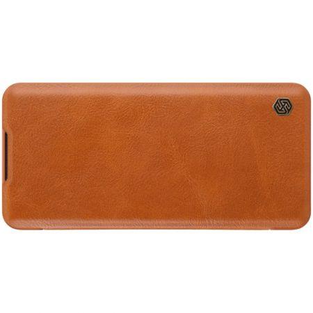 Тонкий Флип NILLKIN Qin Чехол Книжка для Xiaomi Mi Note 10 Коричневый