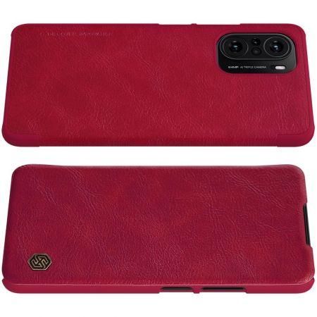 Тонкий Флип NILLKIN Qin Чехол Книжка для Xiaomi POCO F3 Красный