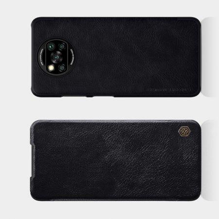 Тонкий Флип NILLKIN Qin Чехол Книжка для Xiaomi Poco X3 NFC Черный