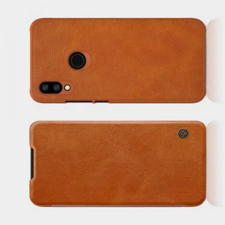 Тонкий Флип NILLKIN Qin Чехол Книжка для Xiaomi Redmi 7 Коричневый