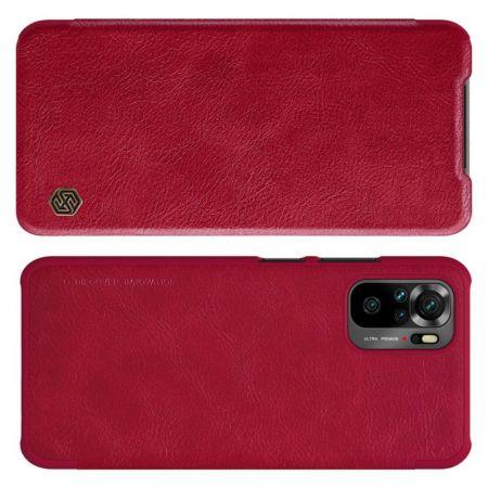Тонкий Флип NILLKIN Qin Чехол Книжка для Xiaomi Redmi Note 10 Красный