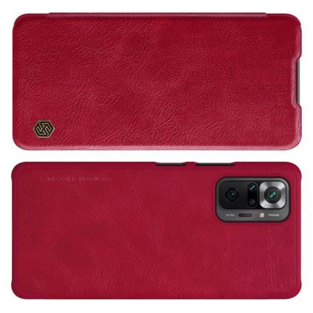 Тонкий Флип NILLKIN Qin Чехол Книжка для Xiaomi Redmi Note 10 Pro Красный