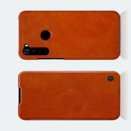 Тонкий Флип NILLKIN Qin Чехол Книжка для Xiaomi Redmi Note 8 Коричневый
