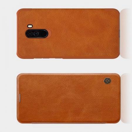 Тонкий Флип NILLKIN Qin Чехол Книжка для Xiaomi Redmi Note 8 Pro Коричневый
