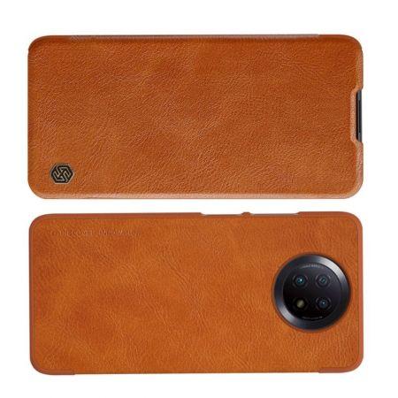 Тонкий Флип NILLKIN Qin Чехол Книжка для Xiaomi Redmi Note 9T Коричневый
