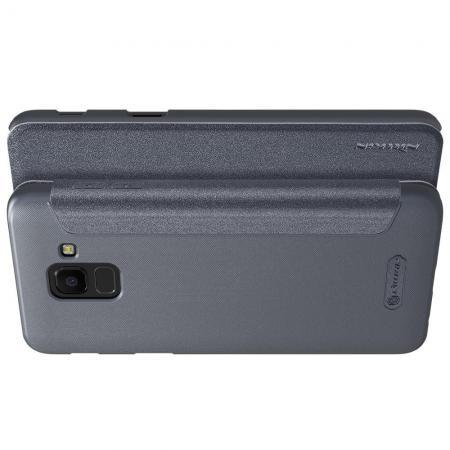 Тонкий Флип NILLKIN Sparkle Горизонтальный Боковой Чехол Книжка для Samsung Galaxy J6 SM-J600 Серый