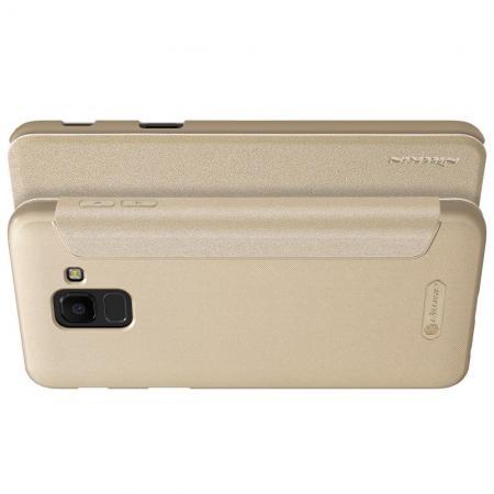 Тонкий Флип NILLKIN Sparkle Горизонтальный Боковой Чехол Книжка для Samsung Galaxy J6 SM-J600 Золотой