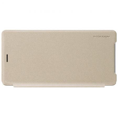 Тонкий Флип NILLKIN Sparkle Горизонтальный Боковой Чехол Книжка для Sony Xperia XZ2 Золотой