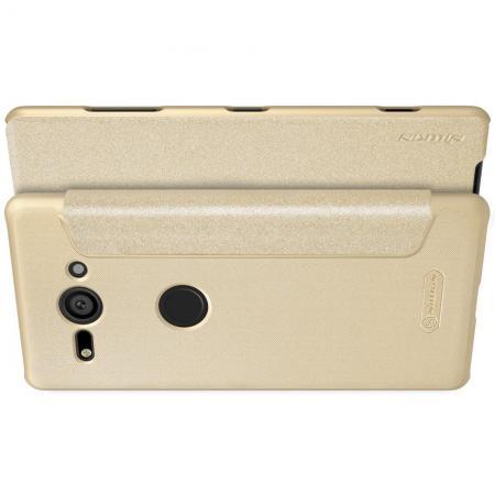 Тонкий Флип NILLKIN Sparkle Горизонтальный Боковой Чехол Книжка для Sony Xperia XZ2 Compact Золотой
