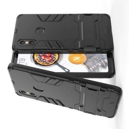 Защитный усиленный гибридный чехол противоударный с подставкой для Xiaomi Mi 8 SE Черный