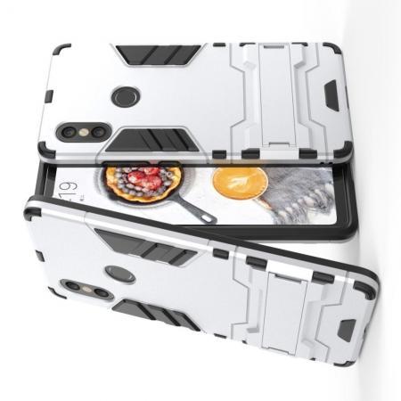 Защитный усиленный гибридный чехол противоударный с подставкой для Xiaomi Mi 8 SE Белый