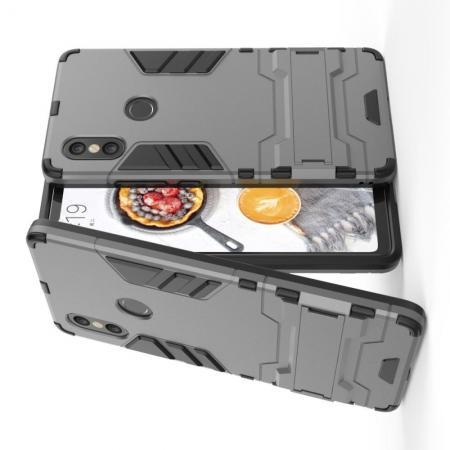 Защитный усиленный гибридный чехол противоударный с подставкой для Xiaomi Mi 8 SE Серый