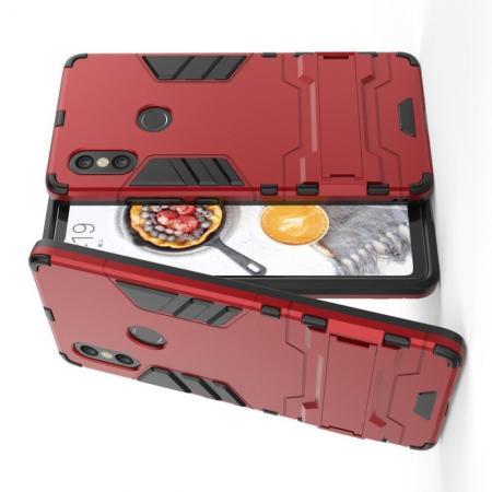 Защитный усиленный гибридный чехол противоударный с подставкой для Xiaomi Mi 8 SE Красный