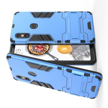 Защитный усиленный гибридный чехол противоударный с подставкой для Xiaomi Mi 8 SE Голубой