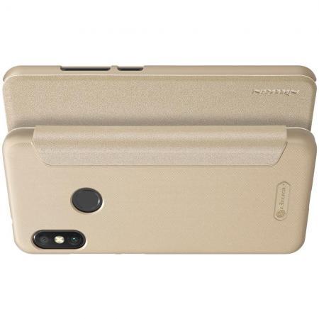 Тонкий Флип NILLKIN Sparkle Горизонтальный Боковой Чехол Книжка для Xiaomi Mi A2 Lite / Redmi 6 Pro Золотой