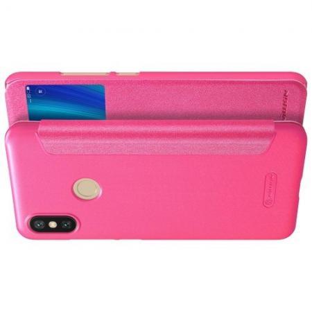 Тонкий Флип NILLKIN Sparkle Горизонтальный Боковой Чехол Книжка для Xiaomi Mi A2 / Mi 6X Розовый