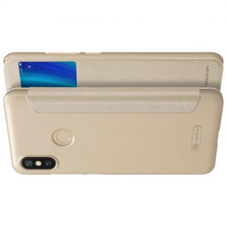 Тонкий Флип NILLKIN Sparkle Горизонтальный Боковой Чехол Книжка для Xiaomi Mi A2 / Mi 6X Золотой