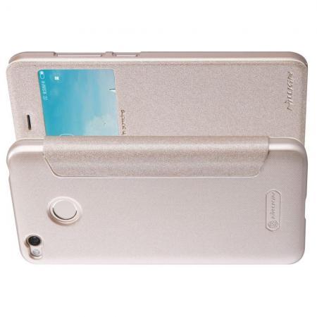Тонкий Флип NILLKIN Sparkle Горизонтальный Боковой Чехол Книжка для Xiaomi Redmi 4X Золотой