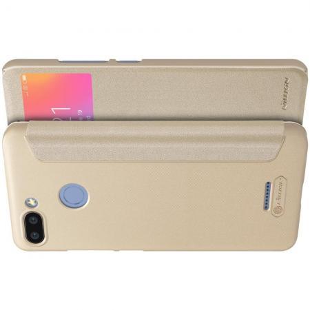 Тонкий Флип NILLKIN Sparkle Горизонтальный Боковой Чехол Книжка для Xiaomi Redmi 6 Золотой