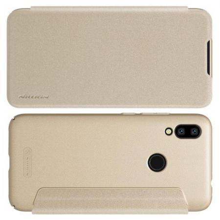 Тонкий Флип NILLKIN Sparkle Горизонтальный Боковой Чехол Книжка для Xiaomi Redmi 7 Золотой