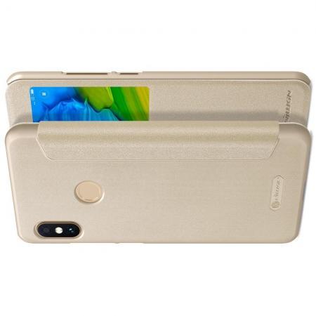 Тонкий Флип NILLKIN Sparkle Горизонтальный Боковой Чехол Книжка для Xiaomi Redmi Note 5 Pro Золотой