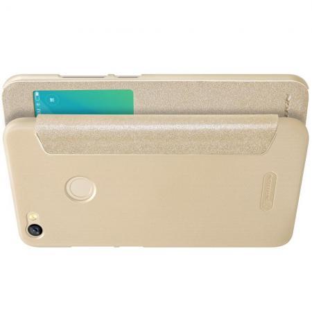 Тонкий Флип NILLKIN Sparkle Горизонтальный Боковой Чехол Книжка для Xiaomi Redmi Note 5A Prime 3/32gb 4/64gb Золотой