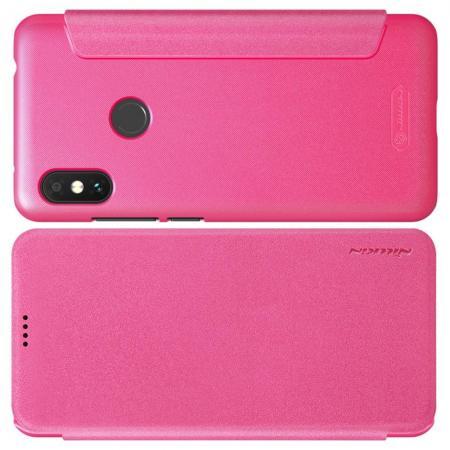 Тонкий Флип NILLKIN Sparkle Горизонтальный Боковой Чехол Книжка для Xiaomi Redmi Note 6 / Note 6 Pro Розовый