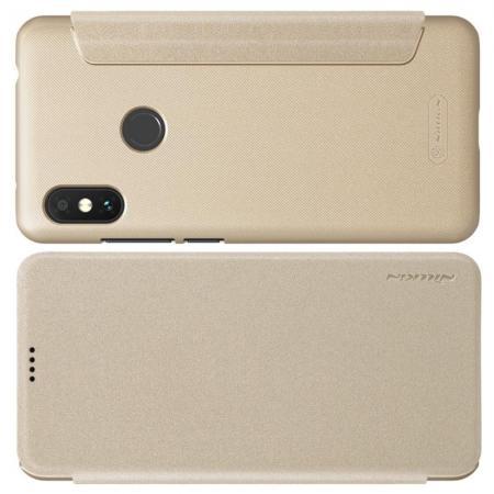 Тонкий Флип NILLKIN Sparkle Горизонтальный Боковой Чехол Книжка для Xiaomi Redmi Note 6 / Note 6 Pro Золотой