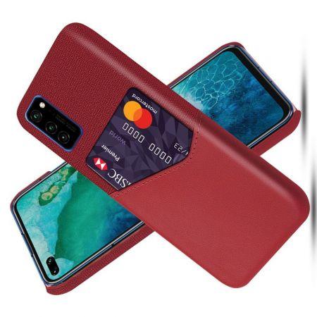 Тонкий Пластиковый PU Кожаный Чехол с Карманом для Карты для Huawei Honor View 30 Красный
