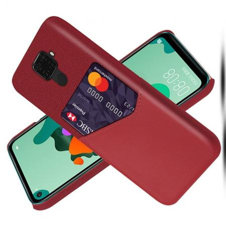 Тонкий Пластиковый PU Кожаный Чехол с Карманом для Карты для Huawei Mate 30 Lite Красный