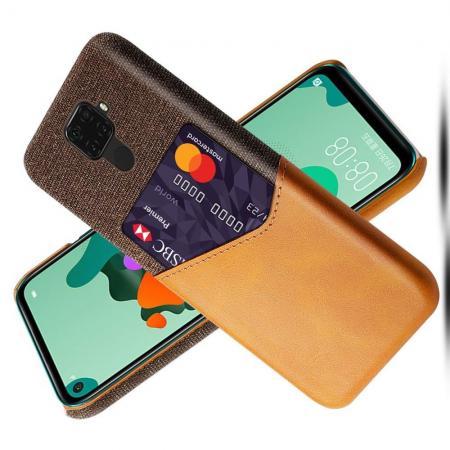Тонкий Пластиковый PU Кожаный Чехол с Карманом для Карты для Huawei Mate 30 Lite Оранжевый