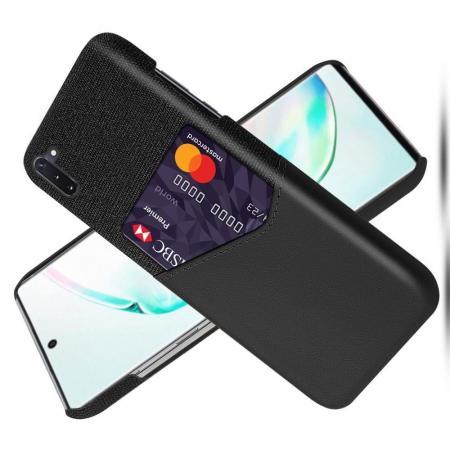 Тонкий Пластиковый PU Кожаный Чехол с Карманом для Карты для Samsung Galaxy Note 10 Черный