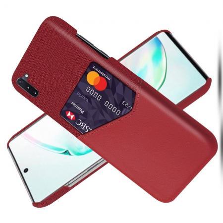 Тонкий Пластиковый PU Кожаный Чехол с Карманом для Карты для Samsung Galaxy Note 10 Красный
