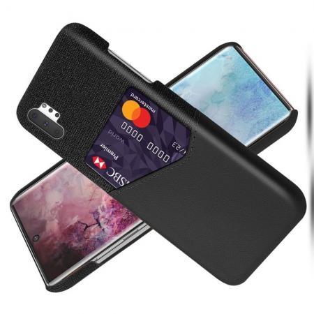 Тонкий Пластиковый PU Кожаный Чехол с Карманом для Карты для Samsung Galaxy Note 10 Plus Черный