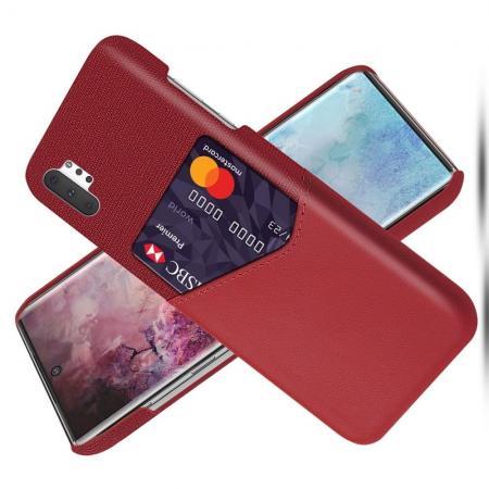 Тонкий Пластиковый PU Кожаный Чехол с Карманом для Карты для Samsung Galaxy Note 10 Plus Красный