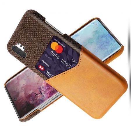 Тонкий Пластиковый PU Кожаный Чехол с Карманом для Карты для Samsung Galaxy Note 10 Plus Оранжевый